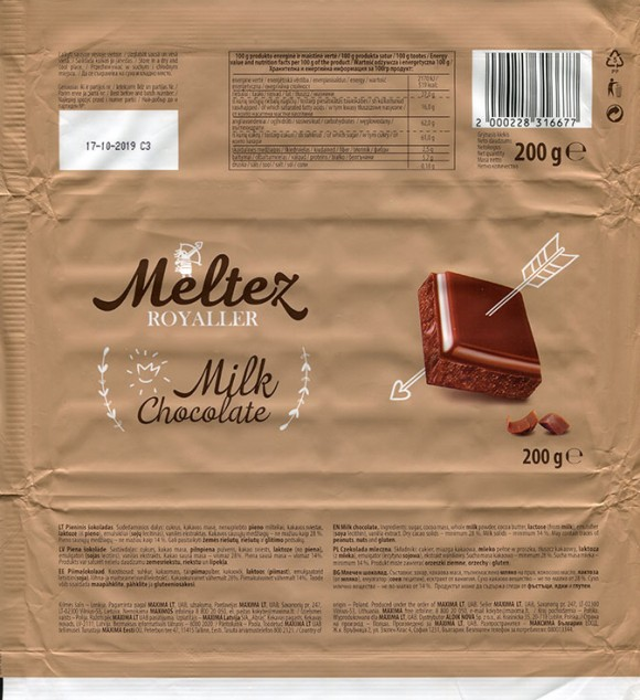 Milk chocolate, 200g, 17.10.2018, Made in Poland for Maxima, UAB