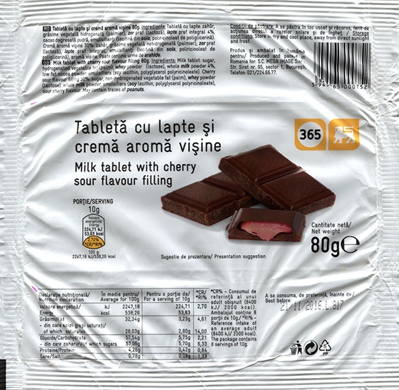 Milk tablet with cherry sour flavour filling, 80g, 21.11.2015, made in Romania for S.C. Mega Image S.R.L., Bucuresti, Romania
