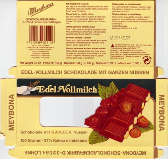 Edell-Volmilch, milk chocolate with whole nuts,100g, 12.1998
