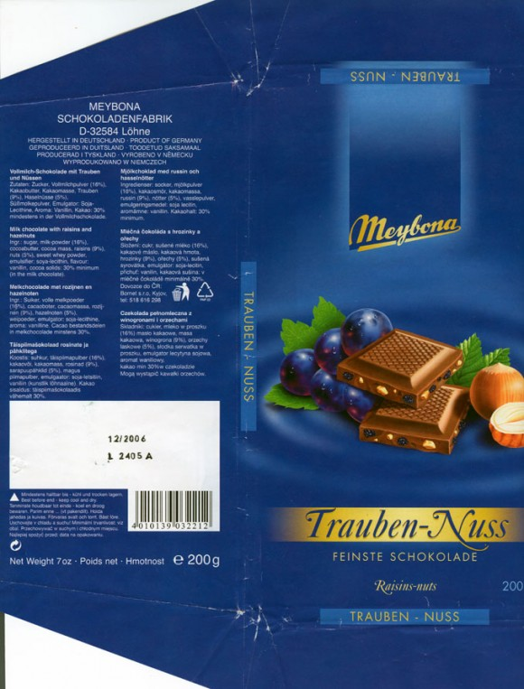 Milk chocolate with raisins and hazelnuts, 200g, 12.2005, Meybona Schokoladefabrik, Lohne-Bischofshagen, Germany