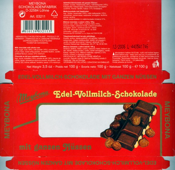 Milk chocolate with whole nuts, 100g, 12.2005, Meybona Schokoladefabrik, Lohne-Bischofshagen, Germany