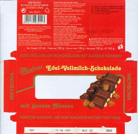 Milk chocolate with whole nuts, 100g, 01.2006, Meybona Schokoladefabrik, Lohne-Bischofshagen, Germany