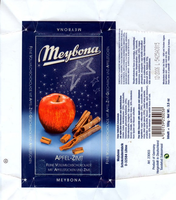 Fine milk chocolate with apple pieces and cinnamon, 100g, 12.2005, Meybona Schokoladefabrik, Lohne-Bischofshagen, Germany