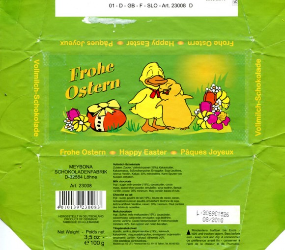 Frohe Ostern, happy Easter, milk chocolate, 100g, 08.2010, Meybona Schokoladefabrik, Lohne, Germany