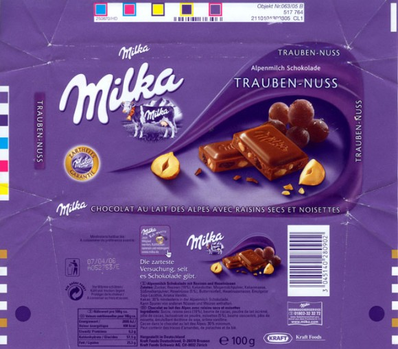 Milk chocolate with raisins and nuts, 100g, 07.04.2005, Kraft Foods Germany, Bremen, Germany
