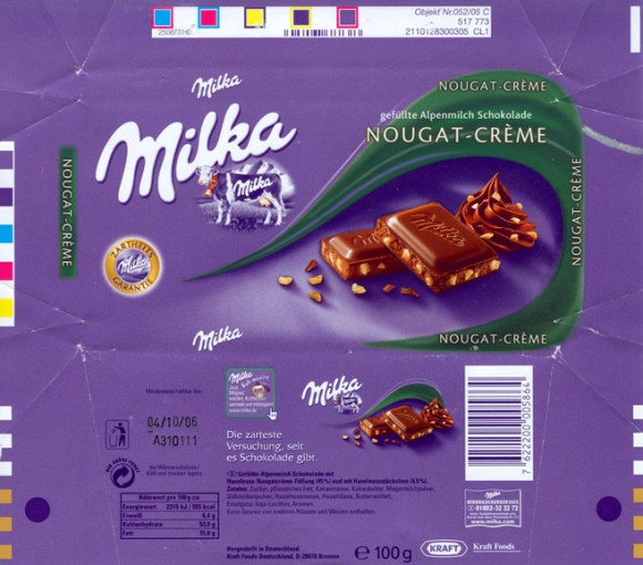 Milk chocolate with nougat cream filling, 100g, 04.10.2005, Kraft Foods Germany, Bremen, Germany
