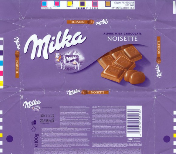 Milk chocolate, 100g, 20.11.2002, Kraft Foods Germany, Lorrach, Germany