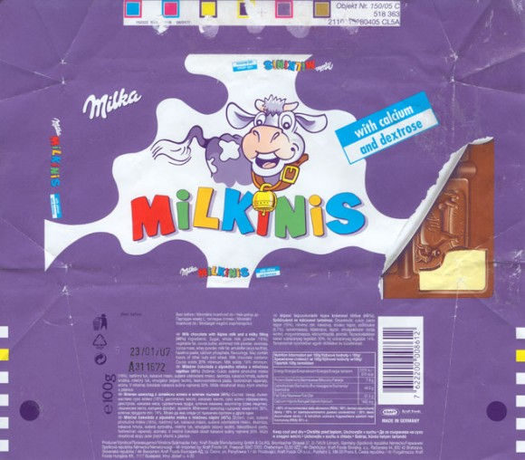 Milkinis, milk chocolate with calcium and dextrose, 100g, 23.01.2006, Kraft Foods Manufacturing Gmbh& Co.KG, Lorrach, Germany