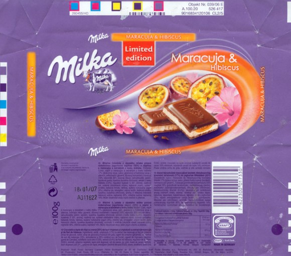 Milk chocolate with maracuja and hibiscus, 100g, 18.01.2006, Kraft Foods Manufacturing Gmbh& Co.KG, Lorrach, Germany