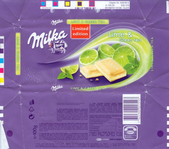 White chocolate with lime and green tea, 100g, 26.01.2006, Kraft Foods Manufacturing Gmbh& Co.KG, Lorrach, Germany