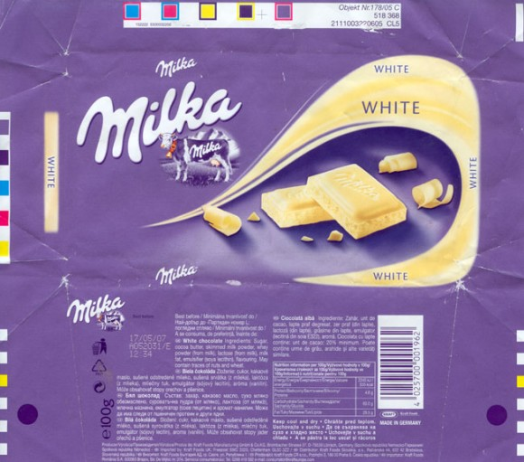 White chocolate, 100g, 17.05.2006, Kraft Foods Manufacturing Gmbh& Co.KG, Lorrach, Germany