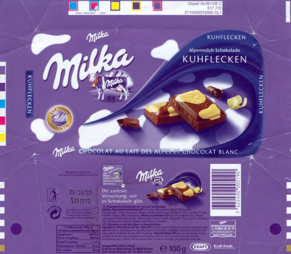 Milk chocolate with white chocolate pieces, 100g, 30.04.2006, Kraft Foods Manufacturing Gmbh& Co.KG, Lorrach, Germany