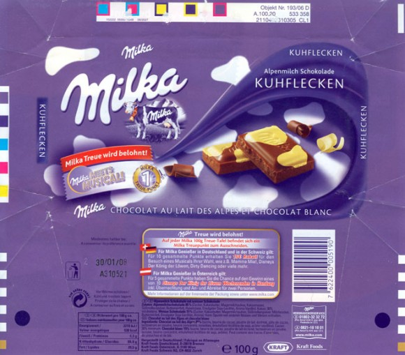 Milka, milk chocolate with white chocolate, 100g, 30.01.2007, Kraft Foods Germany, Milka, Bremen, Germany
