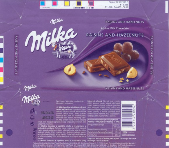 Milka, milk chocolate with rasins and hazelnuts, 100g, 16.04.2007, Kraft Foods Manufacturing GmbH^ Co.KG, Lorrach, Germany