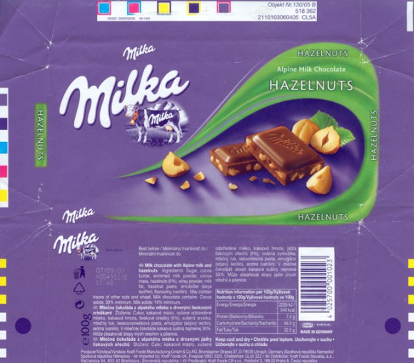 Milka, milk chocolate with hazelnuts, 100g, 07.09.2006, Kraft Foods Manufacturing GmbH^ Co.KG, Lorrach, Germany