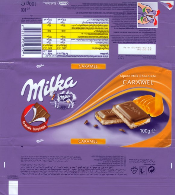 Milka, milk chocolate with caramel, 100g, 27.08.2008, Kraft Foods Manufacturing GmbH & Co.KG, Lorrach, Germany