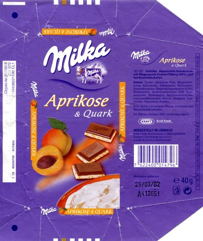 Milka, Alpine milk chocolate with apricot cream filling, 40g, 28.03.2001, Kraft Foods Deutschland production GmbH & Co. KG., Bremen, Germany