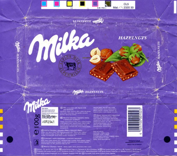 Milka, milk chocolate with Alpine milk and hazelnuts, 100g, 19.07.1995, Kraft Jacobs Suchard, Lorrach, Germany