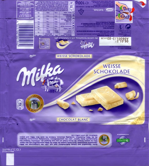 Milka, Alpine white chocolate, 100g, 06.01.2010, Kraft Foods Germany, Lorrach, Germany