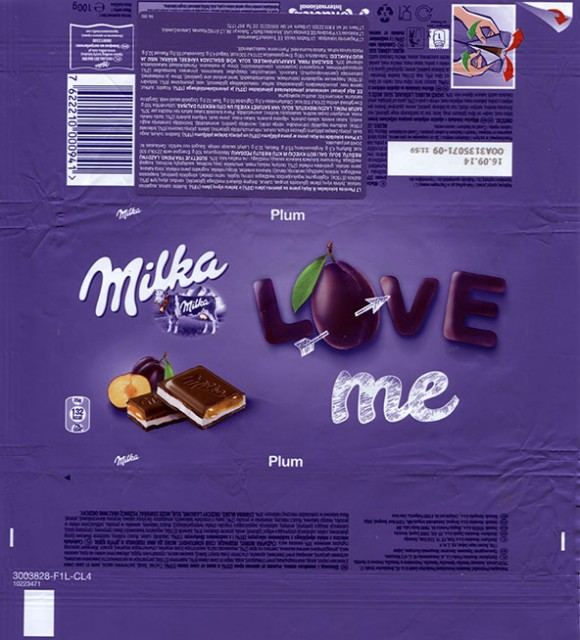 Milka, milk chocolate with plum filled, 100g, 16.09.2013, Kraft Foods Germany, Mondelez International, Lorrach, Germany