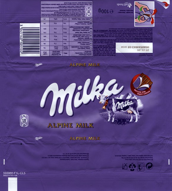 Alpine milk chocolate, 100g, 27.11.2014, Kraft Foods, made in Germany