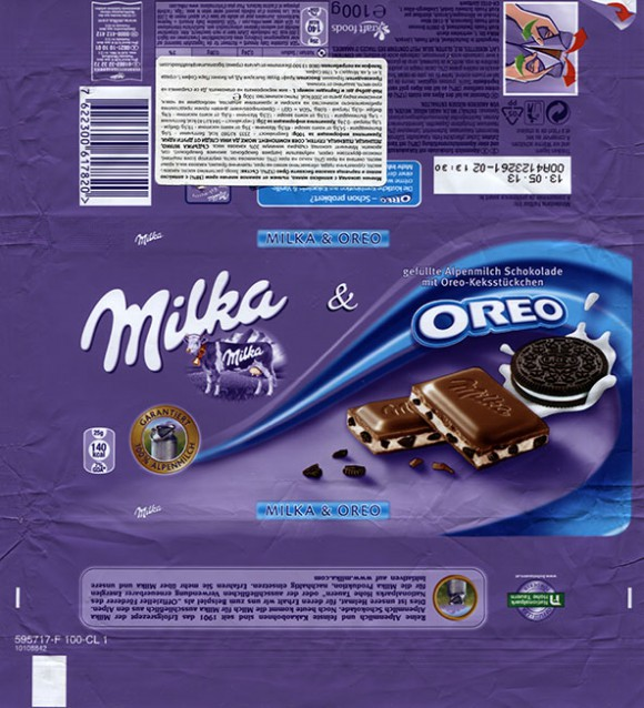 Milka, milk chocolate with Oreo biscuit, 100g, 13.05.2012, Kraft Foods Germany, Mondelez International, Lorrach, Germany