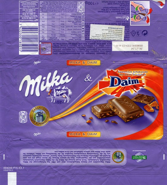 Milka, milk chocolate with Daim filled, 100g, 26.12.2013, Kraft Jacob Suchart, Lorrach, Germany