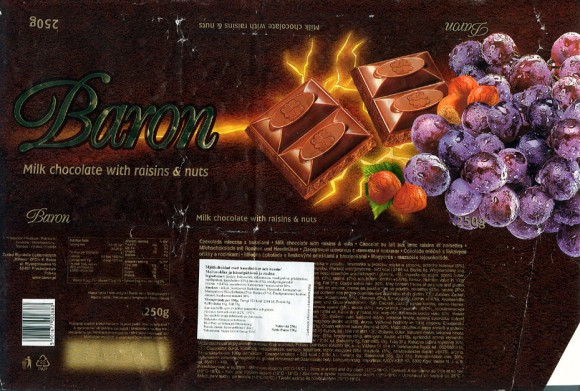 Baron, milk chocolate with raisins and nuts, 250g, 20.06.2003, Millano, Przezmierowo, Poland