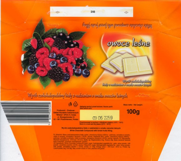 Owoce lesne, milk chocolate compound with forest fruits filling , 100g, 03.2005, Millano, Przezmierowo, Poland