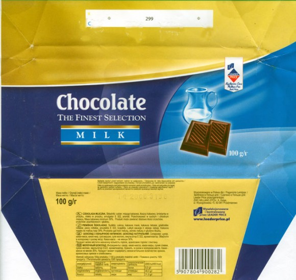 Leader price, milk chocolate, 100g, 11.2005, Millano, Przezmierowo, Poland