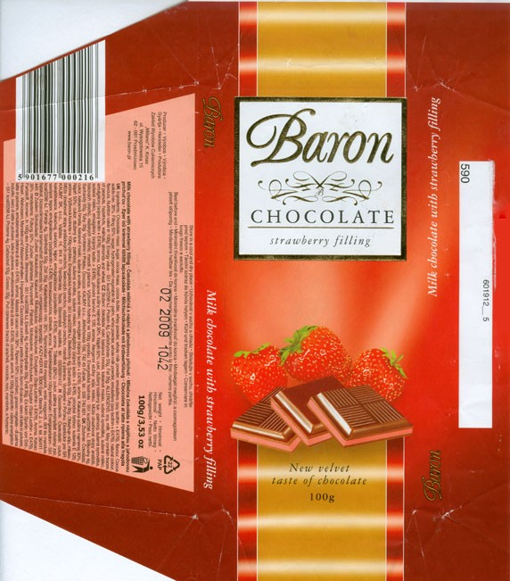Baron, milk chocolate with strawberry filling, 100g, 02.2008, Millano, Przezmierowo, Poland
