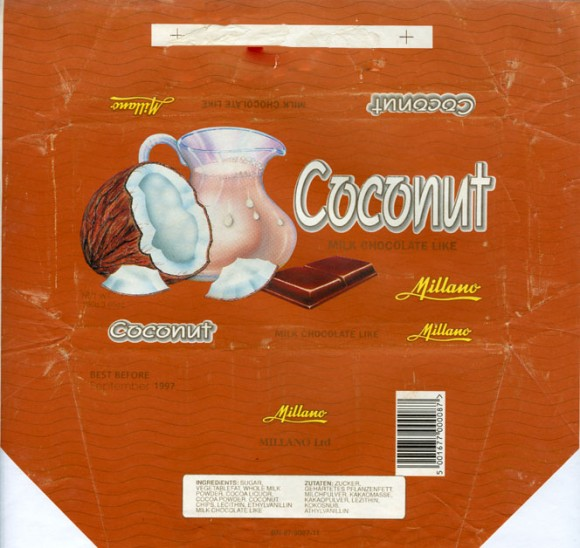 Coconut, milk chocolate like with coconut, 100g, 09.1996, Millano LTD, Przezmierowo, Poland