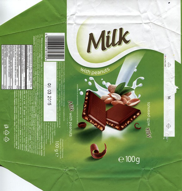 Milk chocolate with peanuts, 100g, 06.03.2014, ZWC Millano, Przezmierowo, Poland