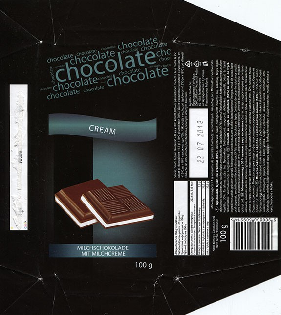 Milk chocolate with milk cream filling, 100g, 22.07.2012, ZWC Millano, Przezmierowo, Poland