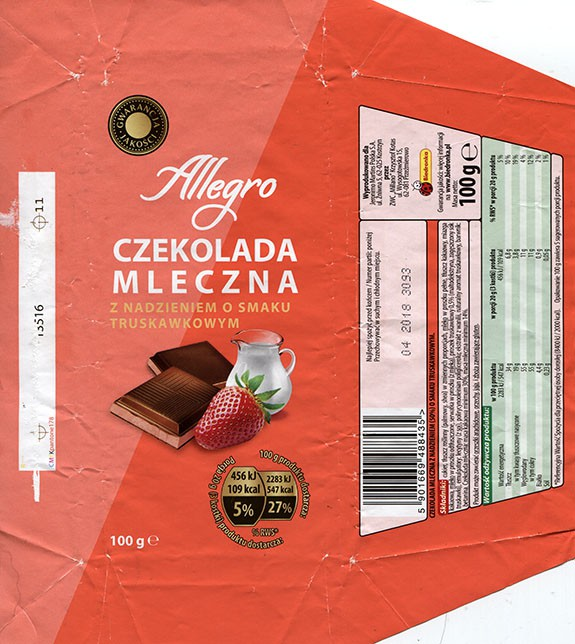 Allegro, milk chocolate with strawberry cream flavoured, 100g, 04.2017, ZWC Millano, Przezmierowo, Poland