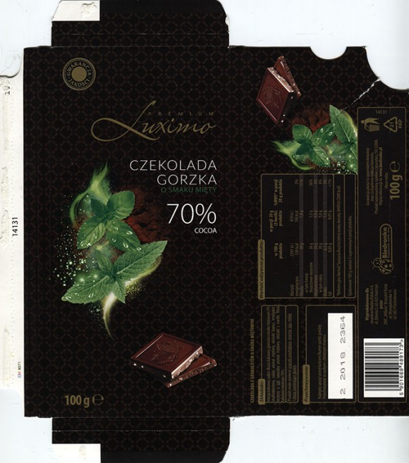 Premium Luximo, dark chocolate with mint flavour, 100g, 02.2017, ZWC Millano, Przezmierowo, Poland for Jeronimo Martins Polska S.A.