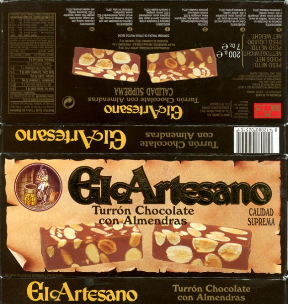El Artesano, Turron chocolate con Almendras, Calidad Suprema, chocolate coating with milk, 200g, 10.2007, Mira Y Llorens S.A., Jijona (Alicante) Spain
