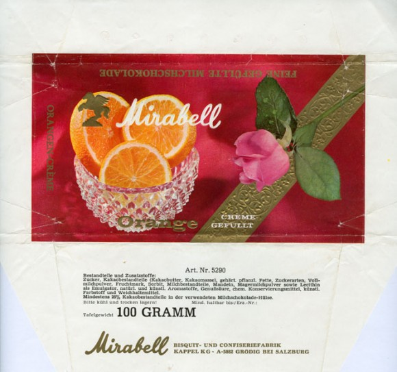 Milk chocolate with orange cream filling, 100g, about 1970, Mirabell, Salzburg-Grodig, Austria