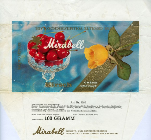 Milk chocolate with cherry cream filling, 100g, about 1970, Mirabell, Salzburg-Grodig, Austria