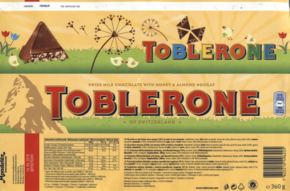 Toblerone, swiss milk chocolate with honey and almond nougat, 360g, 14.04.1017, Mondelez International Schweiz Production GmbH, Glattpark, Switzerland