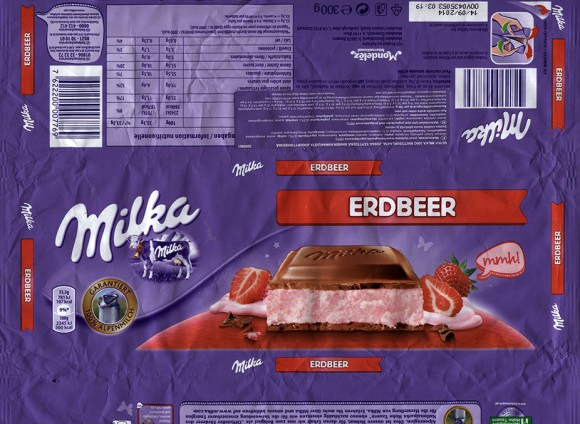 Milka, Alpine milk chocolate with strawberry joghurt cream, 300g, 14.09.2013, Mondelez International, Mondelez Oesterreich Production GmbH, Bludenz, Austria