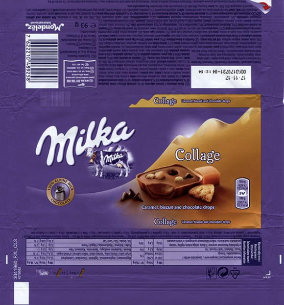 Milka, confectionery with cocoa flavoured creme, milk chocolate, shortcake biscuit pieces, chocolate chips, lightly salted fudge pieces, 93g, 17.11.2016, Mondelez Polska Production sp.z.o.o., Kobierzyce, Poland