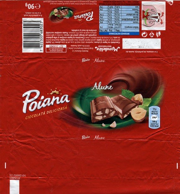 Poiana, milk chocolate with nuts, 90g, 2015, Mondelez Romania S.A., Bucuresti, Romania