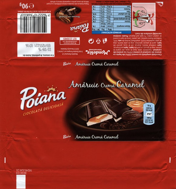 Poiana, dark Chocolate with caramel cream filing, 90g, 22.09.2015, Mondelez Romania S.A., Bucuresti, Romania