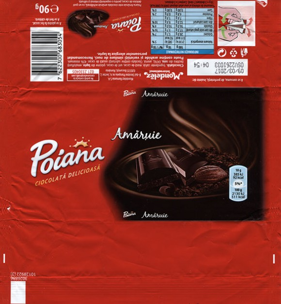 Poiana, dark Chocolate, 90g, 09.03.2016, Mondelez Romania S.A., Bucuresti, Romania