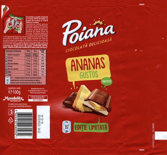 Poiana, ananas gustos, chocolate filled with ananas cream filling, 100g, 19.12.2013, Mondelez Romania S.A., Bucuresti, Romania
