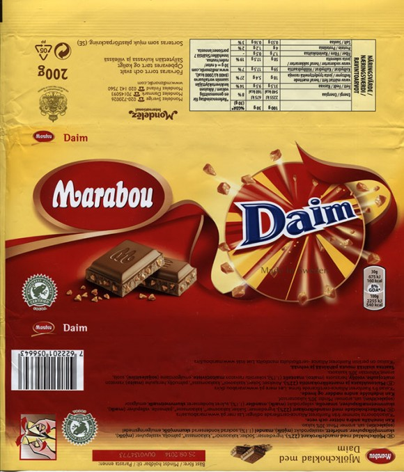 Marabou, Daim, milk chocolate with caramel crisps filled, 200g, 25.09.2013, Mondelez Sverige, Sweden