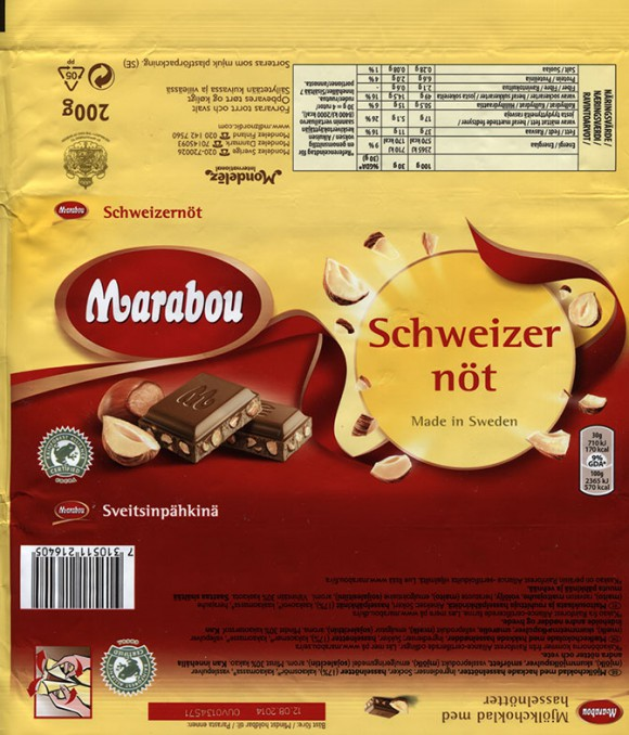 Marabou Schweizer not, milk chocolate with nuts, 200g, 12.08.2013, Mondelez Sverige, Sweden