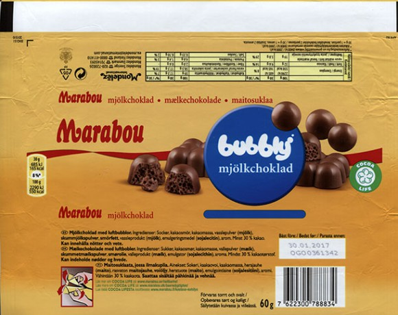 Marabou Bubbly, milk chocolate with air chocolate, 60g, 30.01.2016, Mondelez Sverige, Sweden