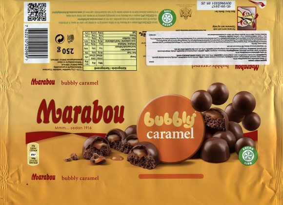 Marabou Bubbly caramel, milk chocolate with air milk chocolate and caramel filled, 250g, 15.09.2016, Mondelez Sverige, Sweden